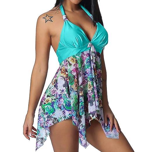 b585555865141 Amazon.com: Women Bikini Set Two Piece Tankini Halter Sexy Print Splice  Irregular Hem Push-up Backless Swimsuit Swimwear Bathing Suit: Clothing