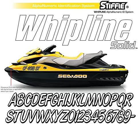 Stiffie Whipline Solid Atomic Green//Black 3 Alpha-Numeric Registration Identification Numbers Stickers Decals for Boats /& Personal Watercraft