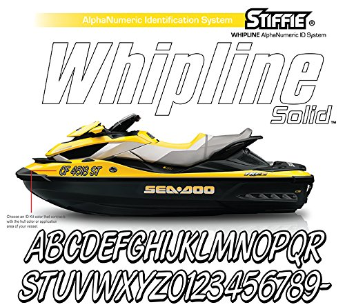 Whipline Solid Black//Orange 3 Alpha-Numeric Registration Identification Numbers Stickers Decals for Boats /& Personal Watercraft Stiffie