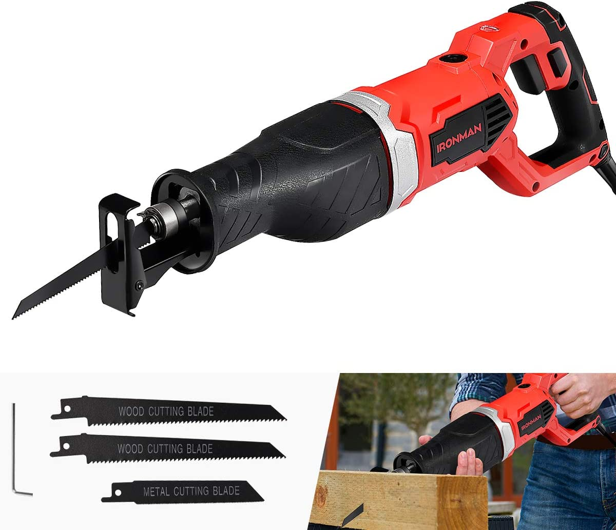 Goplus Reciprocating Saw, 9Amp 1-1 8 Stroke Length, 2500SPM Variable Speed and Trigger Switch with 3 Saw Blades for Wood and Metal Cutting, Electric Saw with Copper Wire Motor and Power Indicator