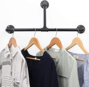 "Industrial Pipe Clothes Drying Rack 22"", Heavy Duty Wall Mounted Black Iron Garment Bar, Rustic Metal Clothing Hanging Shelves for Laundry Room, Closet Storage and Retail Display."