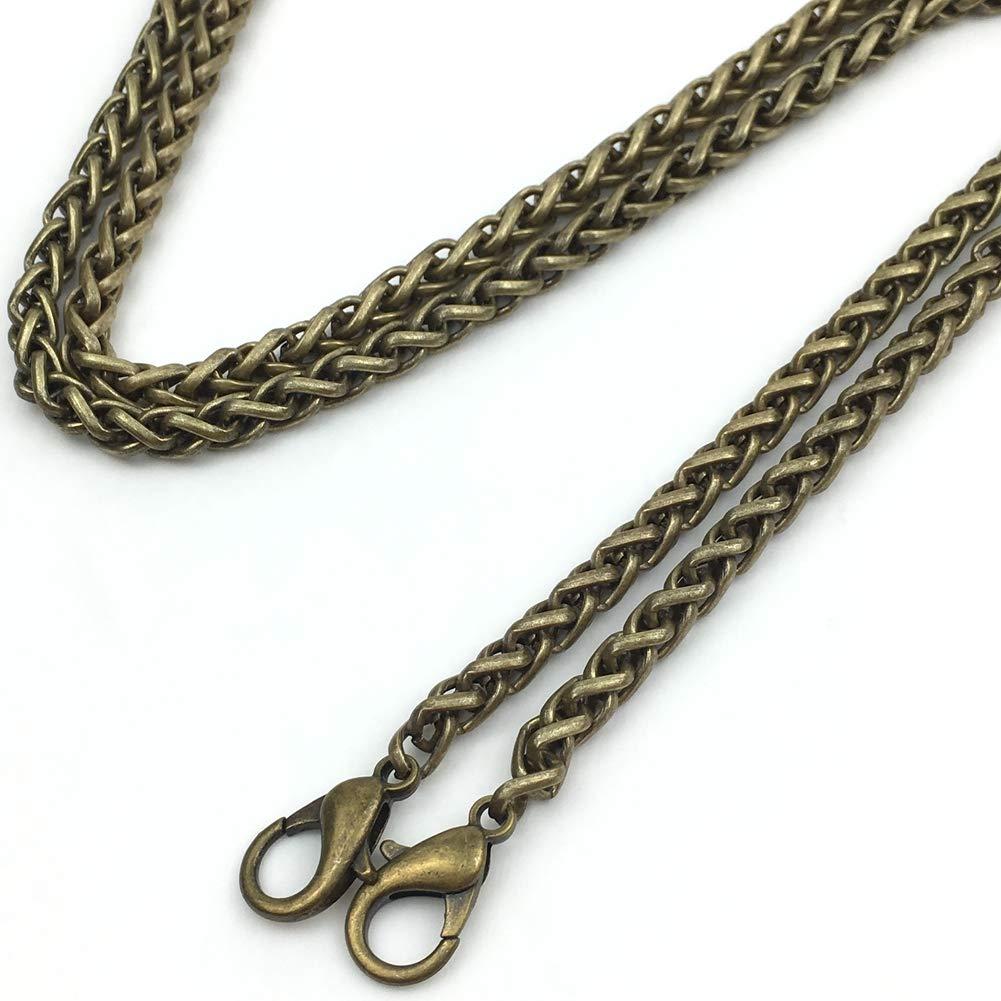 GuoFa 4PCS 47'' Purse Chains 6MM Width Dense Double Weaving Strap Handbags Replacement Chain for Wallet Clutch Satchel Tote Bag Shoulder Crossbody Bags Hardware Black