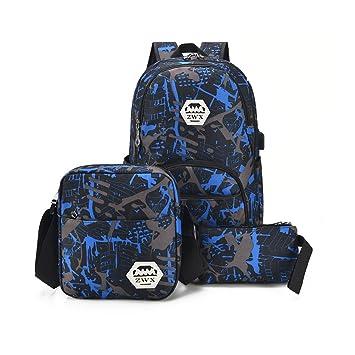 bb7b1f11a8342 Schultasche Sets Jungs Mädchen - Canvas Schulrucksack + Schultertasche +  Mäppchen - Schule Rucksack für Jugendliche