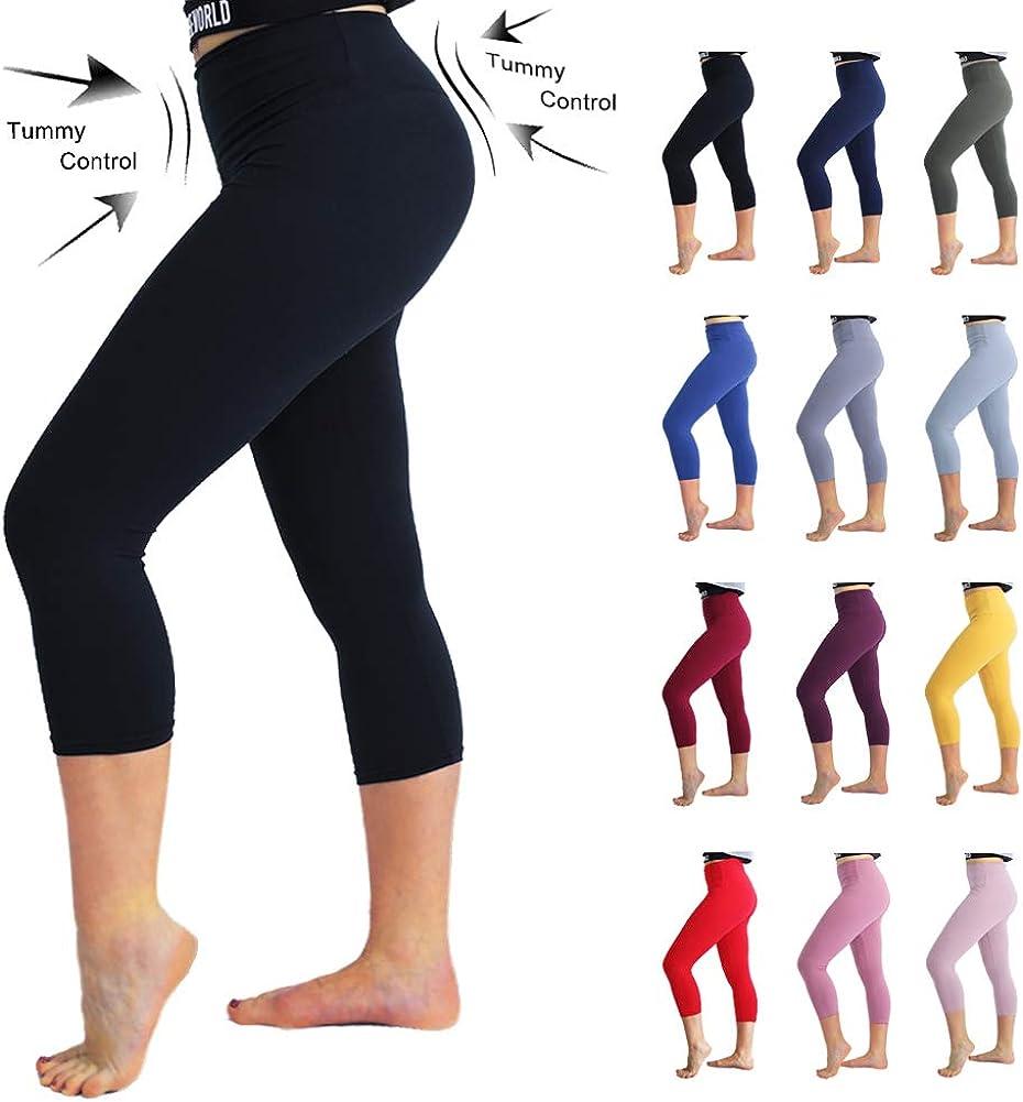 Black+Grey+Purple, One Size TNNZEET High Waisted Tummy Control Soft Plus Size /& One Size Capri Leggings Elastic Opaque Slim