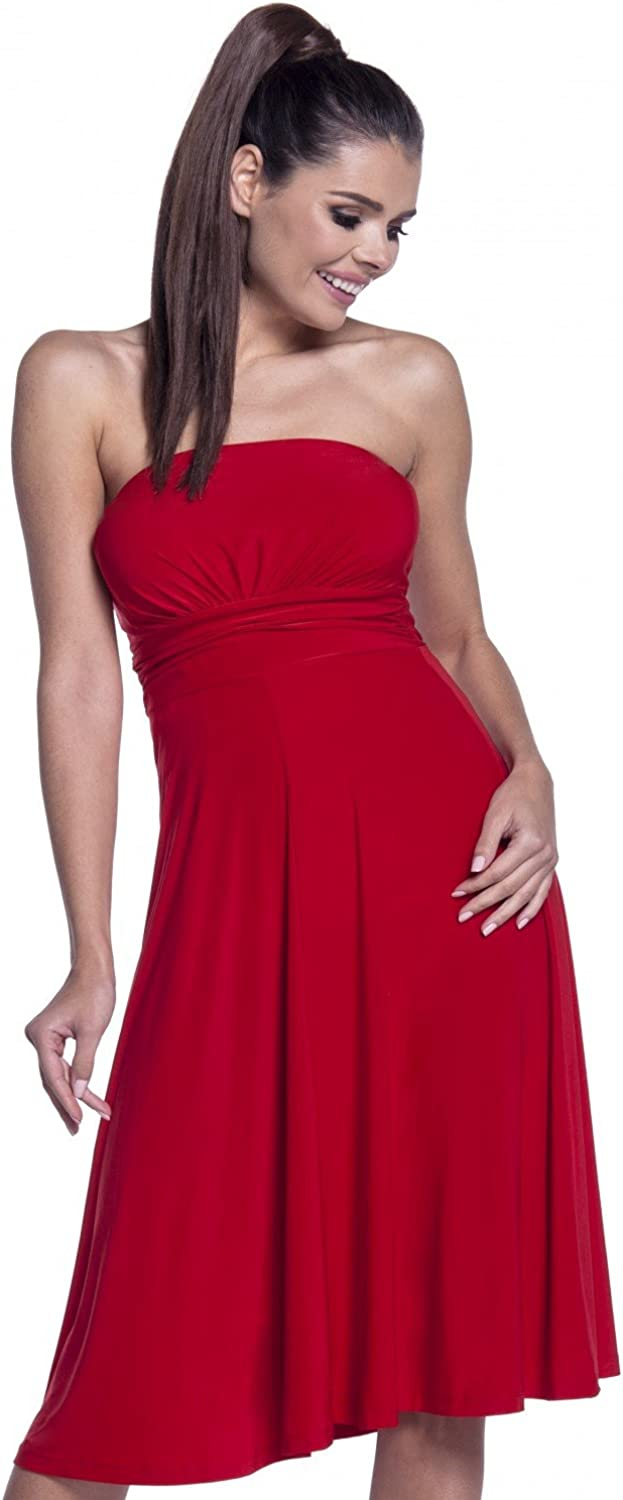 Womens Strapless Party Dress Sizes 10 12 14 18 New Ladies Red Rose Gathered dtl