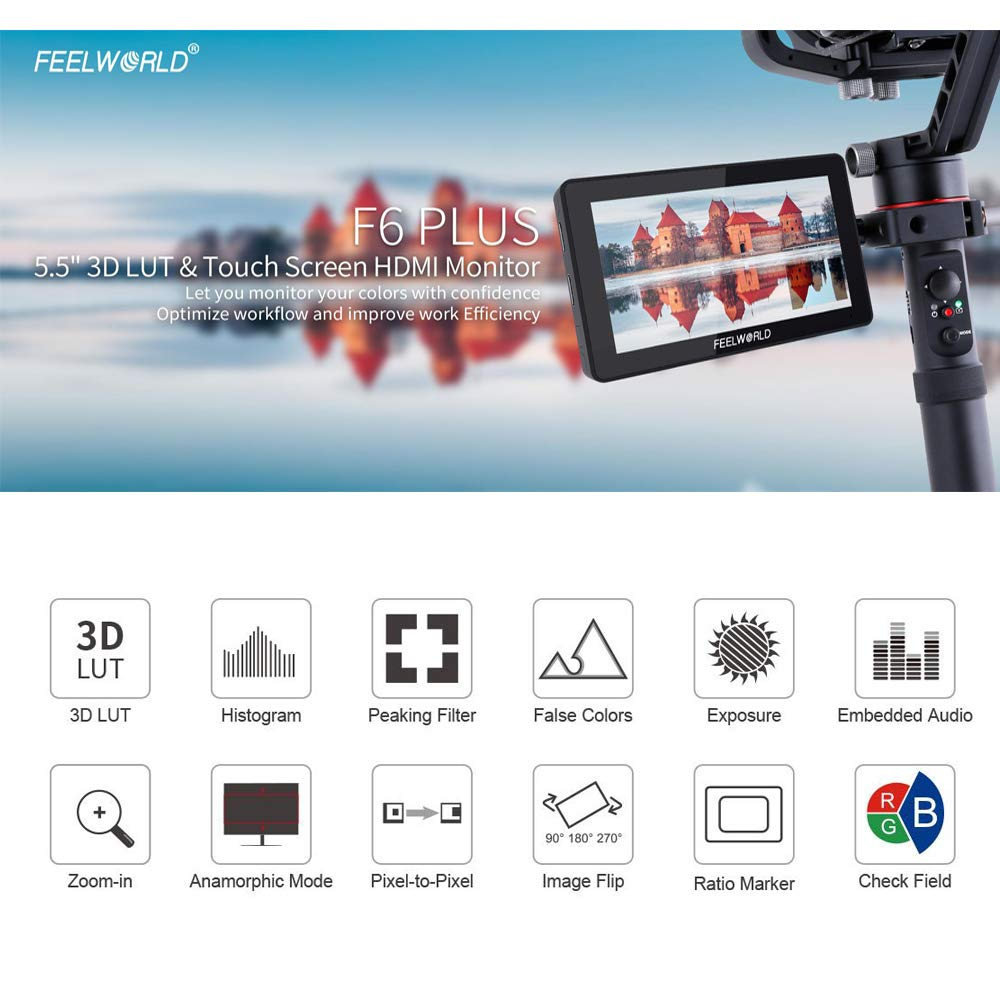 FEELWORLD F6 Plus 5 5 Inch 1920x1080 Suppor 4K 3D LUT Touch Screen DSLR  Camera Field Monitor for DSLR Cameras and Gimbal Stabilizer