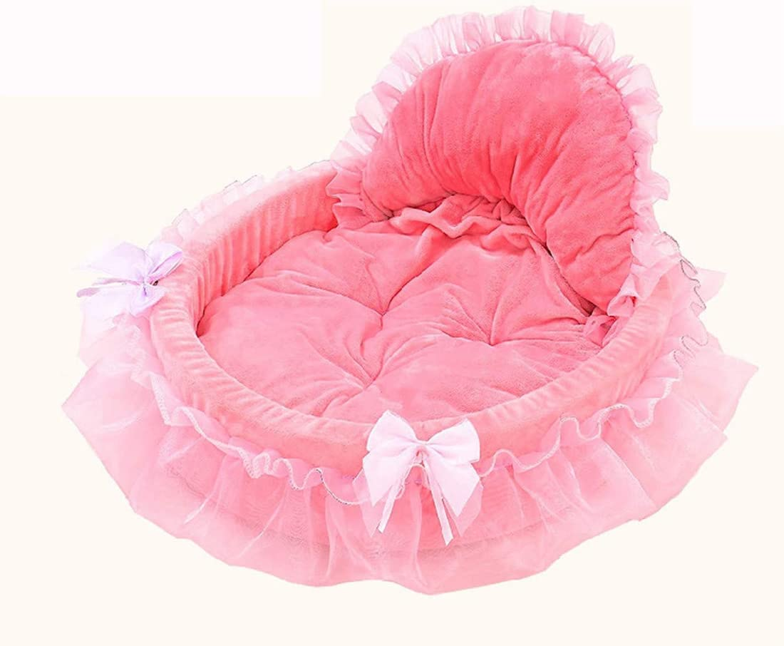 Mikey Store Pet Dog Puppy Princess Bows Lace Heart Elegant Lovely Bed Doghouse Pet Warm Bed