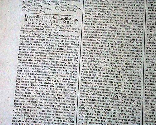 Advertiser Daily Newspaper (NEW YORK CITY Nation's Capital Pre George Washington Inauguration 1789 Newspaper THE DAILY ADVERTISER, New York, Feb. 24, 1789)