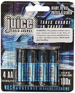 Juice Rechargeable Alkaline Batteries, Size AA, 4-Count Package