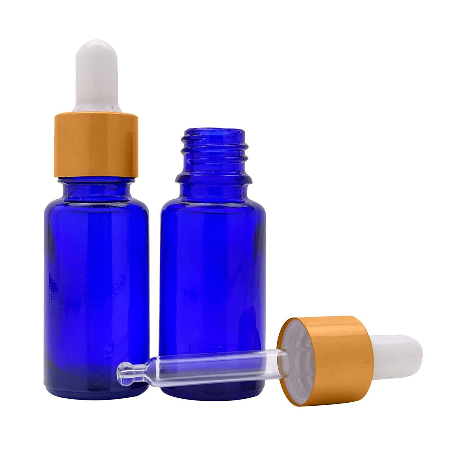 Lot Of 100 Cobalt Blue Glass Eye Dropper Bottle Refillable Serum Aromatherapy Wholesale Essential Oils Pipette Dropper Bottles Golden Matt Cap Boston Round Bottle 10 ml MT Bottles & Jars