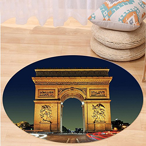 Niasjnfu Chen Custom carpetParis Decor Collection Arc De Triomphe Paris France Touristic Entrance Roundabout Evening Sunset Bedroom Living Room (Aztec Sun Collection)