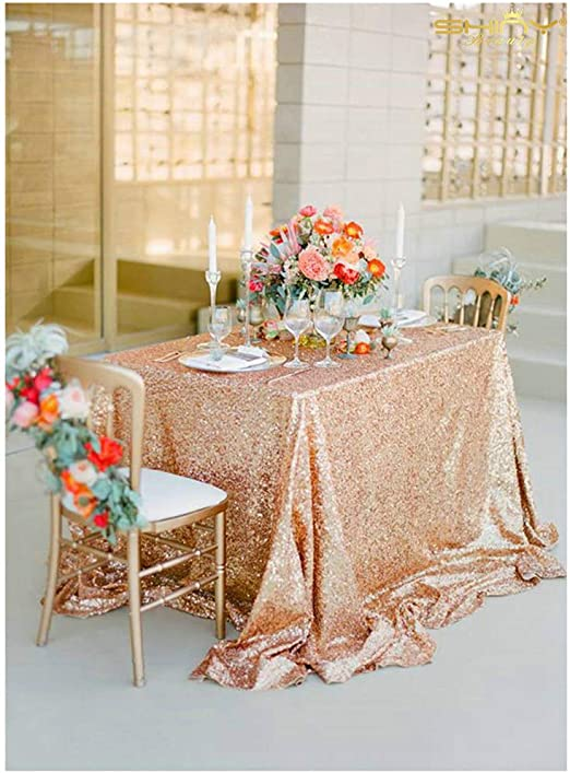 Shimmer Sparkly Overlays Tablecloths for Wedding Rose Gold Sequin Table Cloth