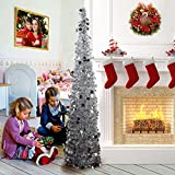 AerWo 5ft Pop up Christmas Tinsel Tree with Stand, Gorgeous Collapsible Artificial Christmas Tree for Christmas Decorations, Silver