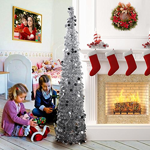 AerWo 5ft Pop up Christmas Tinsel Tree with Stand, Gorgeous Collapsible Artificial Christmas Tree for Christmas Decorations, - Christmas Trees Tinsel