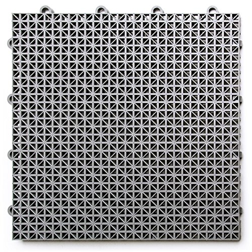 DuraGrid DT24GRAY Outdoor Modular Interlocking Multi-Use Deck Tile (24 Pack), Gray, -