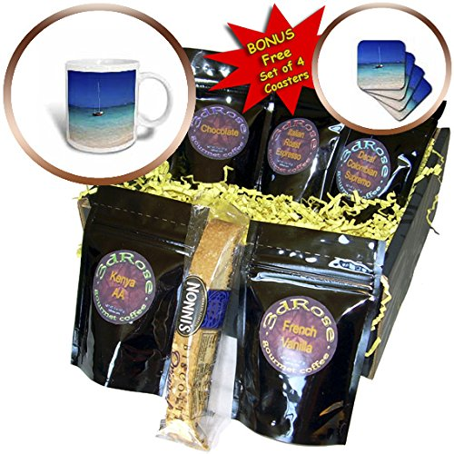 Danita Delimont - Coastline - USA, Hawaii, Oahu, Sail Boat at Anchor in Blue Water With Swimmer - Coffee Gift Baskets - Coffee Gift Basket (cgb_230736_1) (Gift Baskets Oahu)