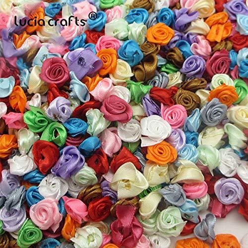 Boutique Rosette - 50Pcs/100Pcs 1.5Cm Mix Color Satin Flower Head Rosette Girls Boutique Mini Hair Bow Headwear DIY Garment 14020033