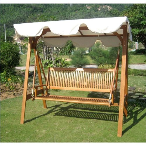 International Caravan Royal Tahiti Outdoor Glider and Swing Patio Furniture Set with Frame and Weather Proof Canopy