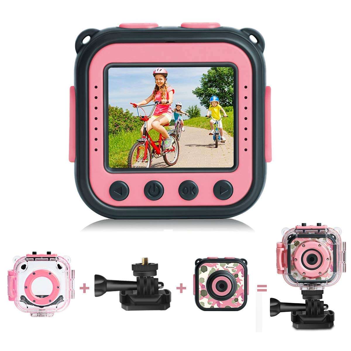 kids action camera pink Upgraded PROGRACE Kids Waterproof Camera Action Video Digital Camera 1080 HD Camcorder for Girls Toys Gifts Build-in Game Pink