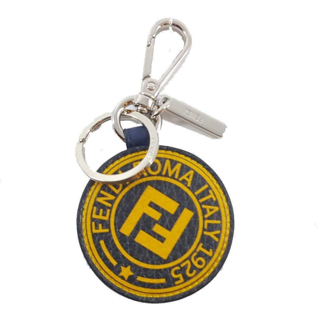 Fendi Stamp Key Charm Calf Leather Blue Stamp Marine Yellow 7AR710