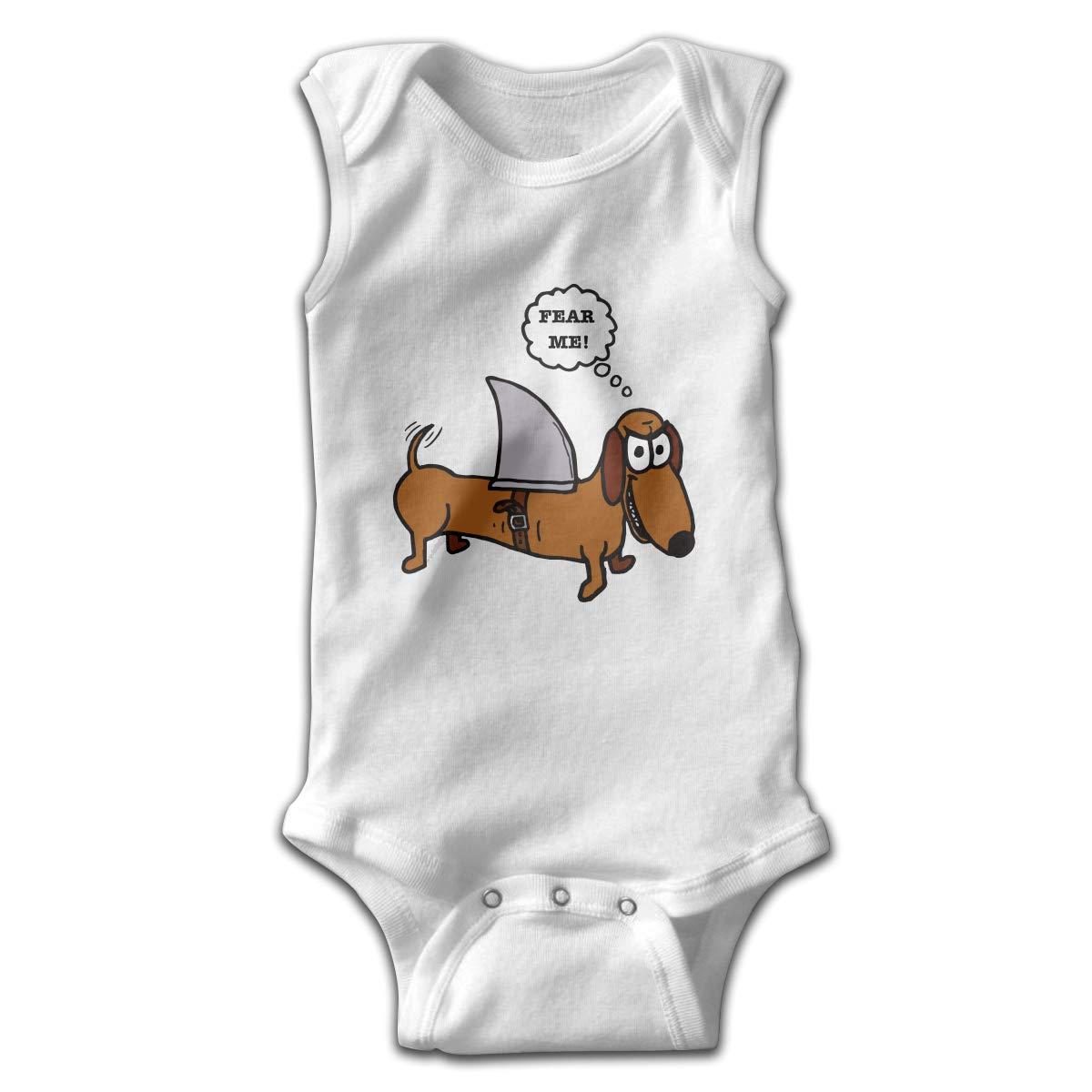 Weiner Dog with A Sharks Fin Newborn Crawling Suit Sleeveless Romper Bodysuit Onesies Jumpsuit Black