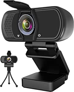 Hrayzan Webcam 1080P,HD Webcam with Microphone,PC Laptop Desktop USB Webcams with 110 Degree Wide Angle,Computer Web Camera with Rotatable Clip