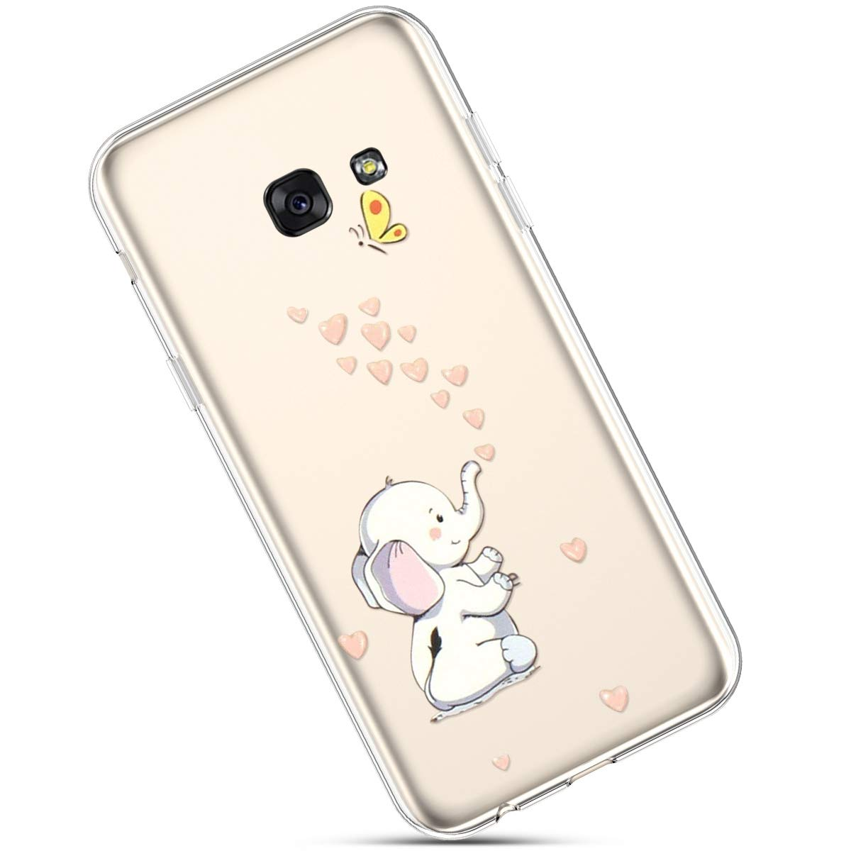 Felfy Custodia Compatibile con Samsung Galaxy A5 2017,Cover Galaxy A5 2017 Silicone Morbido,Galaxy A5 2017 Cover Trasparente con Disegni,Moda Dipinto Modello Design Ultra Sottile TPU Case.Fiore