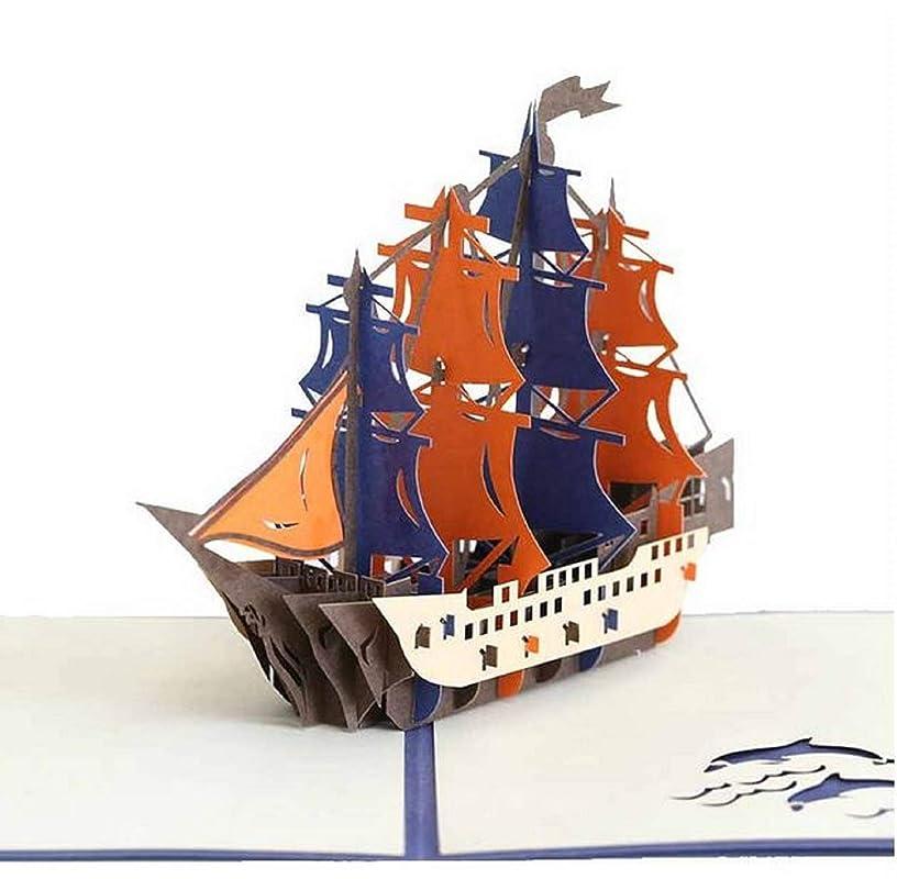 Tarjeta emergente hecha a mano en 3D Barco militar de Galeón ...