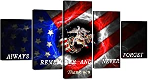 5 Panels USMC Marine Corps US USA American Flag Canvas Painting Military Wall Art Picture Black White Blue Red Line Flag Patriotic Print Artwork Home Decor for Living Room Stretched (60''W x 32''H)