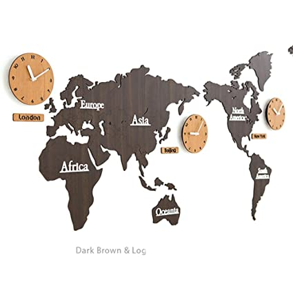 Amazon mcc creative home decoration world map large wall clock mcc creative home decoration world map large wall clock simple diy personalized art wooden 3 country gumiabroncs Images
