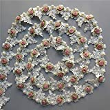Qiuda 1 Yard Vintage Gold Pearl Rose Flowers