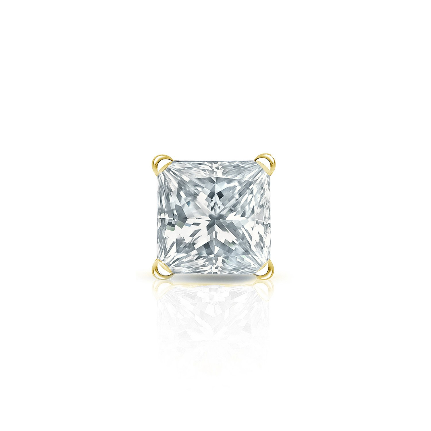 14k Yellow Gold Princess Diamond Simulant CZ SINGLE STUD Earring 4Prong 1//8-1ct,Excellent Quality