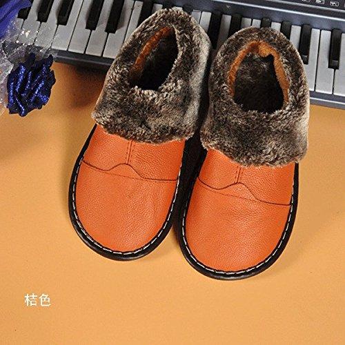 Habuji Home autunno e inverno pantofole con caldo cotone pantofole indoor anti-slittamento scarpe caldo, 39-40, arancione