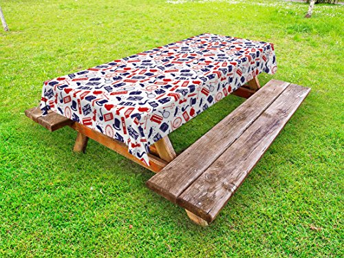 Ambesonne London Outdoor Tablecloth, United Kingdom Country Themed Symbols Pattern in National Flag Colors, Decorative Washable Picnic Table Cloth, 58 X 84 Inches, Royal Blue Red White for $<!--$29.99-->