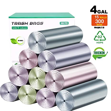 Amazon.com: Bolsas de basura pequeñas de 4 galones, 300 ...