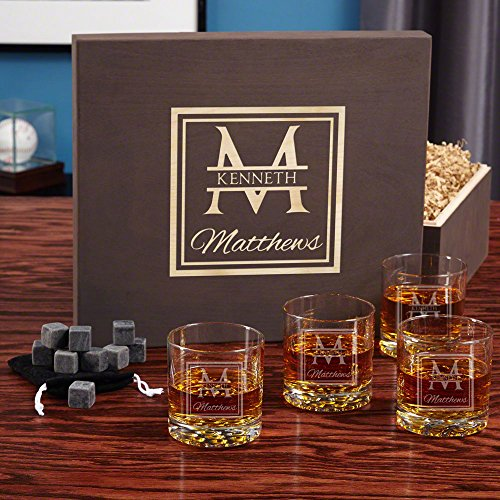 Oakhill Personalized Buckman Whiskey Set with Gift Box (Customizable (Decanter Box)