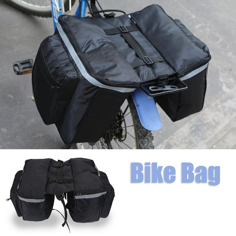 Bike Rear Bag,Waterproof Bike Rear Storage Bag Reflective Trim and Large Bicycle Back Rack Pouches Pockets Cycling Accessory