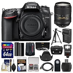Nikon D7200 Wi-Fi Digital SLR Camera Body with 64GB Card + Case + Flash + Battery/Charger + Tripod + Remote + Kit