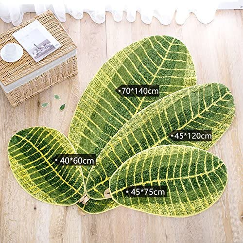 LGKK Leaf Shaped Home Entrance Doormats, Solid Non-Slip Polyester Fiber Bath Mats Area Rugs Floor Mat Carpetf for Bedroom Kitchen 45x75cm 18x30inch
