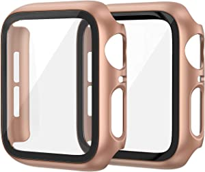 EDIMENS 2 Pack Hard PC Case Compatible with Apple Watch Series 6 / SE / 5 / 4 40mm Women Men, Overall PC Case Slim Tempered Glass Screen Protector Protective Cover for Apple iWatch 40mm SE Rose Gold