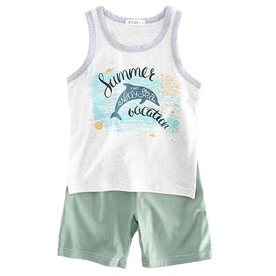 f4045b5d548 DIGOOD Teen Baby Boys Girl Vacation Dolphin Print Vest Tops+Short Pants