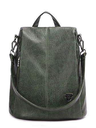 e9c1a1a446433 EZOLY Frauen PU-Leder Rucksack diebstahl Schultertasche Damen Schule  Schultertasche (grün)