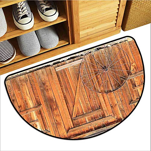 TableCovers&Home Welcome Front Mat, Western Decorative Doormats for Bedroom, Ancient West Rural Town Rustic Weathered Wooden Wall Door Wagon Wheel in Front Image (Peru, H20 x D32 ()