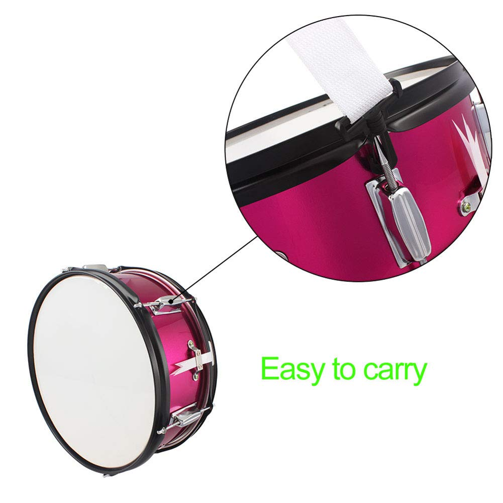 MG.QING Small Snare Drum 14 inch Professional Snare Drum Student Band with Drumsticks, Straps, Tuning Key,Pink by MG.QING (Image #2)