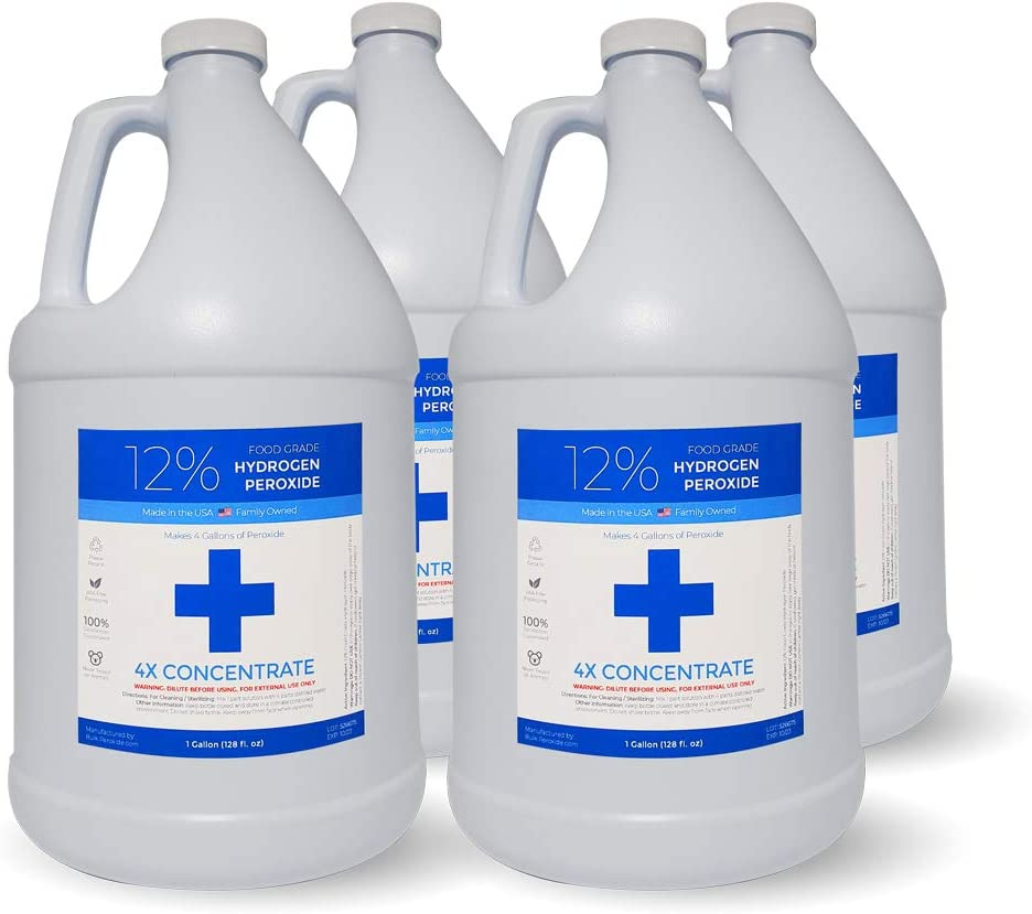 12% Food Grade Hydrogen Peroxide (4 Gallons) - Free Same Day or Next Day Shipping - No Added Stabilizers