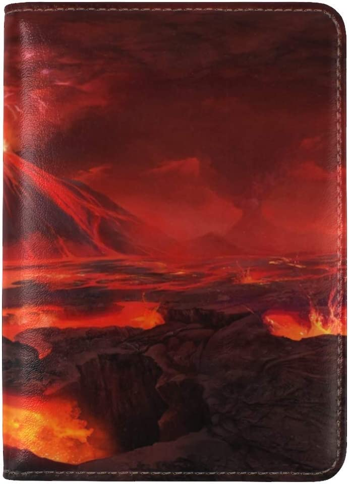 JiaoL Volcano Art Lava Leather Passport Holder Cover Case Travel One Pocket