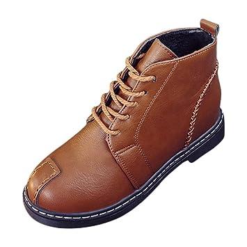 Botas, Manadlian Botines de mujer Zapatos con cordones Tacones bajos Bota de otoño (EU:37, Marrón): Amazon.es: Electrónica