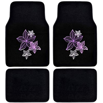 BDK Pretty Rugs Design Carpet Car Floor Mats for Auto Van Truck SUV-4 Pieces Front & Rear Full Set with Rubber Backing-Universal Fit: Automotive
