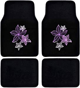 BDK Pretty Rugs Design Carpet Car Floor Mats for Auto Van Truck SUV-4 Pieces Front & Rear Full Set with Rubber Backing-Universal Fit, Pink Flower Lines (MT-538)