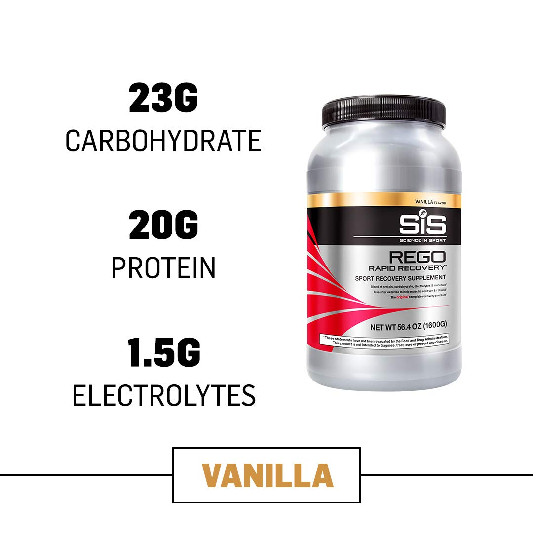 Science in Sport Rego Rapid Recovery Protein Shake Powder, Vanilla Flavor Post Workout Supplement Drink - 3.52 lb